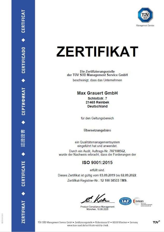 Übersetzungsbüro mit ISO 9001 Zertifikat Deutsch
