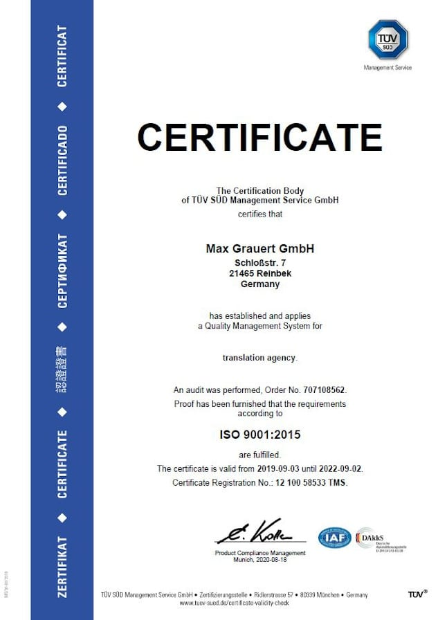 ISO 9001 Certificate English