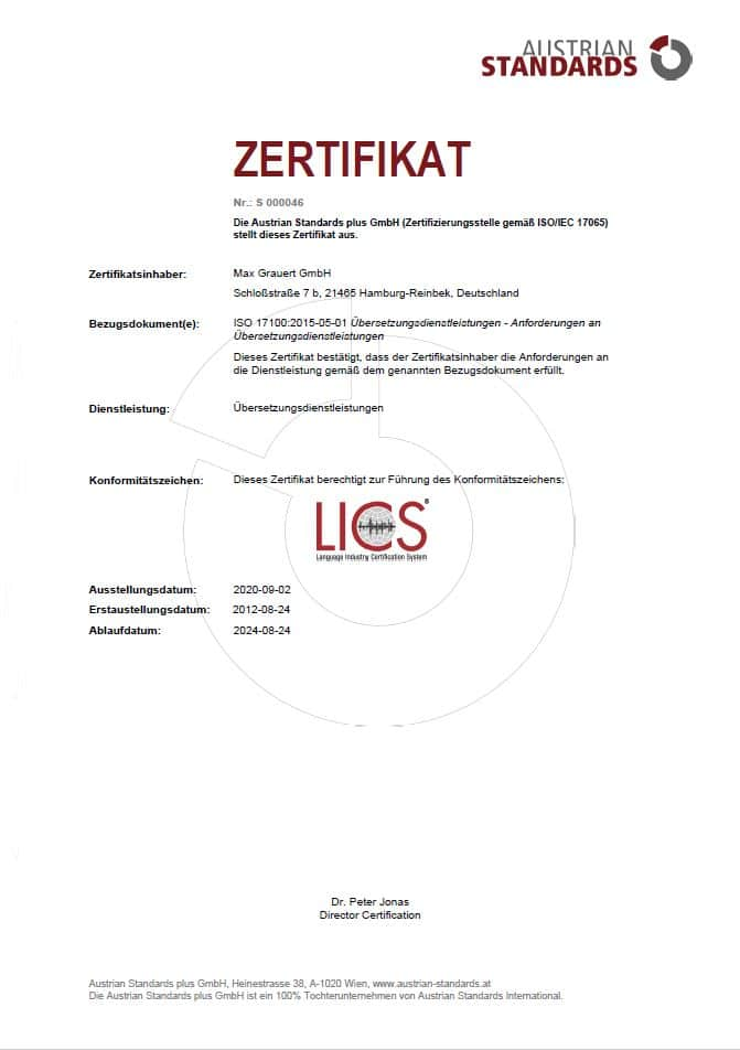 Übersetzungsbüro mit ISO 17100 Zertifikat