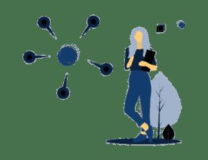 Stehende Übersetzerin in Blau