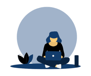 Translator sitting in front of Laptop